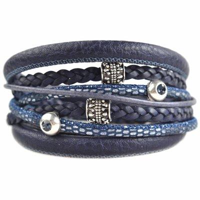 Blauw DIY dubbele Swarovski & metal Dark blue bracelet