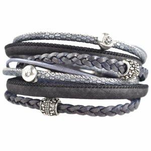 Grijs DIY dubbele Swarovski & metal Blue grey bracelet