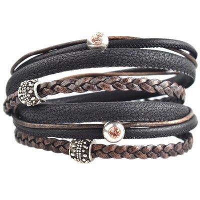 Zwart DIY dubbele Swarovski & metal Black stone bracelet