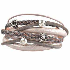 Grijs DIY dubbele Swarovski & metal Taupe grey bracelet