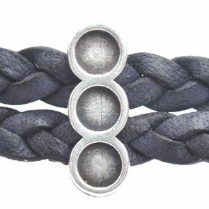 Zilver Leerschuiver metaal 3 settingen Ø10x2mm Zilver DQ 15,5x5,5mm