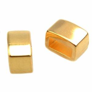 Goud Leerschuiver metaal smalle rechthoek Ø5x2mm Goud DQ 7x4,5mm