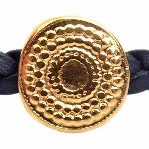 Goud Leerschuiver metaal boho dots Ø5x2mm Goud DQ 13mm