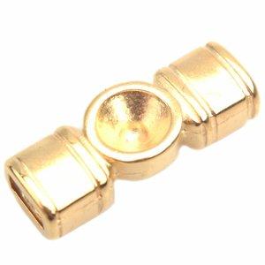 Goud Leerschuiver metaal tussenzetsel voor ss29 Ø5x2mm Goud DQ 22x8mm