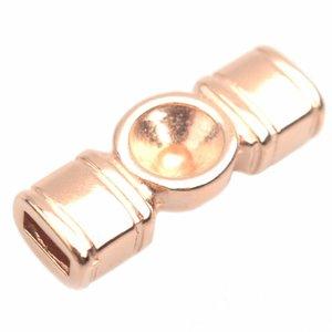 Rosegoud Leerschuiver metaal tussenzetsel voor ss29 Ø5x2mm Rosegoud DQ 22x8mm