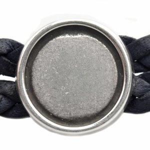 Zilver Leerschuiver metaal setting voor 12mm cabochon smal Ø10x2mm Zilver DQ 15mm