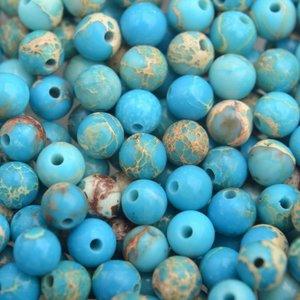 Blauw Edelsteen kraal aqua Regaliet rond 4mm - 10 stuks