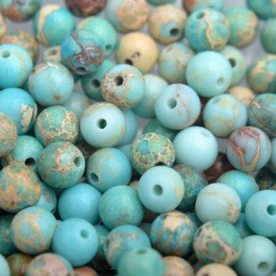Blauw Edelsteen kraal turquoise blauw Regaliet rond 4mm - 10 stuks