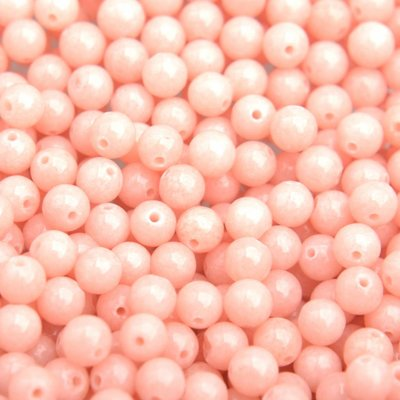 Oranje Edelsteen kraal peach Jade rond 4mm - 10 stuks