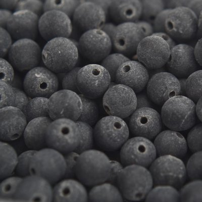 Zwart Edelsteen kraal frosted Black stone rond 4mm - 10 stuks