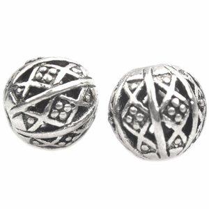 Zilver Kraal Ø1,5mm hollow diamond & dots Zilver 9x8mm