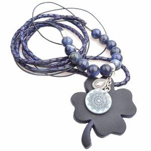 Bruin DIY Edelsteen & Leer ketting lang Dark blue
