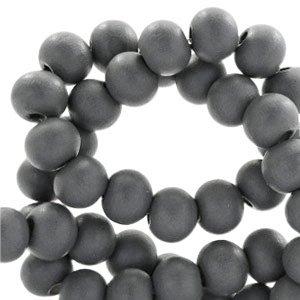 Grijs Houten kralen rond Anthracite grey 8mm - 50 stuks