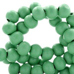 Groen Houten kralen rond Winter green 8mm - 50 stuks