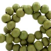 Groen Houten kralen rond Green moss 8mm - 50 stuks