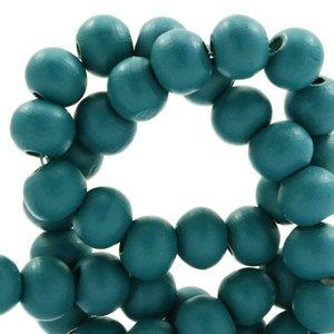 Blauw Houten kralen rond Petrol green 8mm - 50 stuks