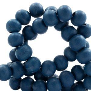 Blauw Houten kralen rond Denim blue 8mm - 50 stuks