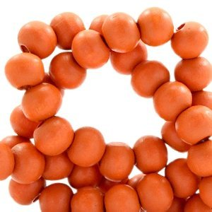 Oranje Houten kralen rond Fire orange 8mm - 50 stuks