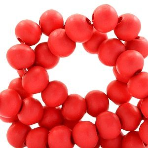 Rood Houten kralen rond Scarlet red 8mm - 50 stuks