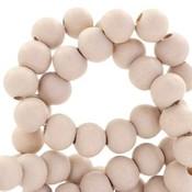 Bruin Houten kralen rond Sand beige rose 8mm - 50 stuks