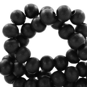 Zwart Houten kralen rond Black 6mm - 50 stuks