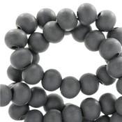 Grijs Houten kralen rond Anthracite grey 6mm - 50 stuks