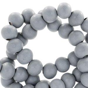 Grijs Houten kralen rond Cool grey 6mm - 50 stuks