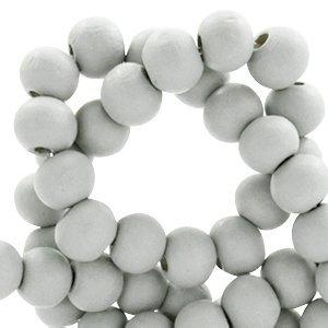 Grijs Houten kralen rond Light grey 6mm - 50 stuks