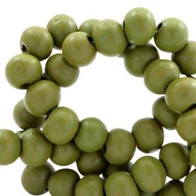 Groen Houten kralen rond Green moss 6mm - 50 stuks