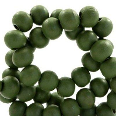 Groen Houten kralen rond Army green 6mm - 50 stuks