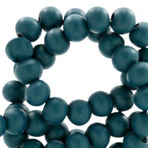 Blauw Houten kralen rond Dark teal blue 6mm - 50 stuks