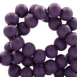 Paars Houten kralen rond Dark aubergine purple 6mm - 50 stuks