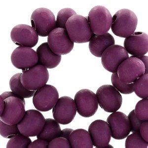 Paars Houten kralen rond Imperial purple 6mm - 50 stuks