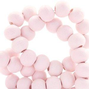 Roze Houten kralen rond Rosewater pink 6mm - 50 stuks