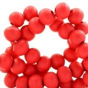 Rood Houten kralen rond Scarlet red 6mm - 50 stuks