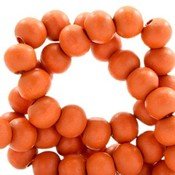 Oranje Houten kralen rond Fire orange 6mm - 50 stuks