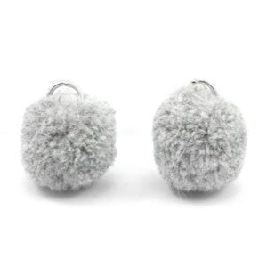 Grijs Pompom bedels Grey silver 15mm