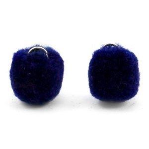 Blauw Pompom bedels Crown blue silver 15mm