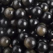 Zwart Edelsteen rond Gold Sheen Obsidiaan 10mm