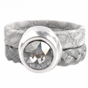 Grijs Ring Swarovski & Leer DIY zilver grijs