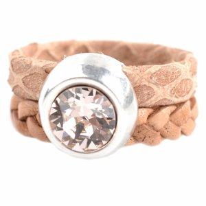 Bruin Ring Swarovski & Leer DIY naturel