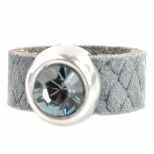 Grijs Ring Swarovski & Leer DIY grijs
