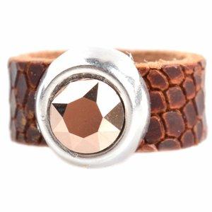 Bruin Ring Swarovski & Leer DIY cognac rosegold