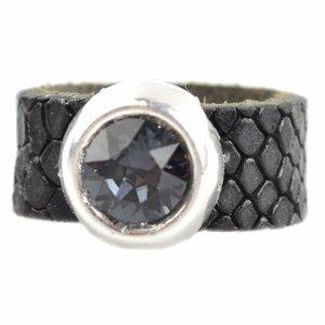 Zwart Ring Swarovski & Leer DIY zwart