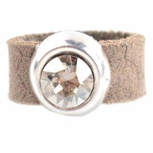 Bruin Ring Swarovski & Leer DIY taupe