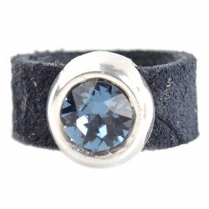 Blauw Ring Swarovski & Leer DIY denim blue