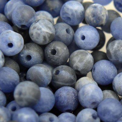 Blauw Edelsteen kraal Frosted Sodaliet rond 4mm - 10 stuks