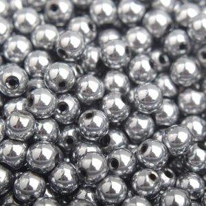 Grijs Edelsteen kraal Hematiet silver plated rond 4mm - 10 stuks