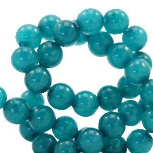 Blauw Natuursteen kraal Dark teal blue rond 4mm - 10 stuks