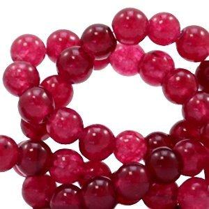 Rood Natuursteen kraal Soft ruby red rond 4mm - 10 stuks